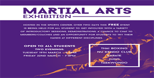Martial Arts Exhibition 19th and 22nd March