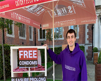 Jack distributing condoms for SHAG